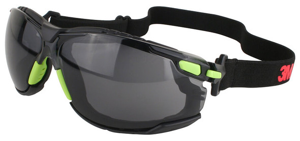 3M Solus Safety Goggles with Green Temples, Gray Anti-Fog Lens and Foam & Strap