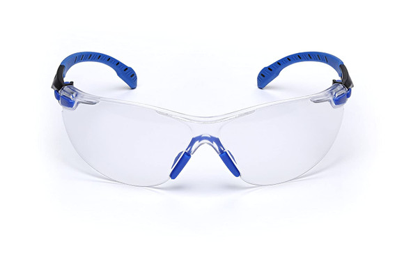 3M Solus Safety Glasses Blue Temples Clear Anti-Fog Lens S1101SGAF Front