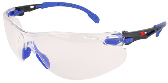 3M Solus Safety Glasses Blue Temples Clear Anti-Fog Lens S1101SGAF