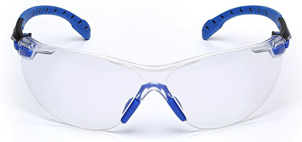 3M Solus Safety Glasses with Blue Temples, Clear Anti-Fog Lens and Foam & Strap Kit S1101SGAF-KT - Front View
