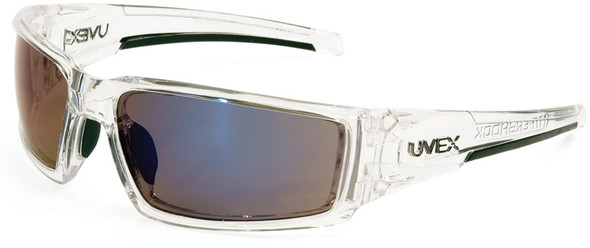 Uvex Hypershock Safety Glasses with Clear Ice Frame and Blue Mirror Lens