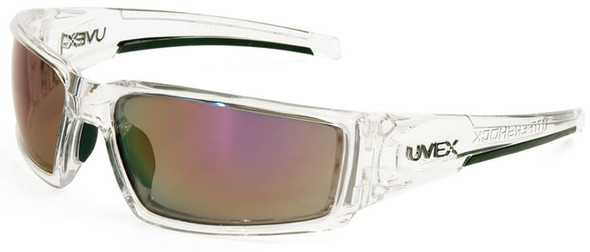 Uvex Hypershock Safety Glasses with Clear Ice Frame and Red Mirror Lens