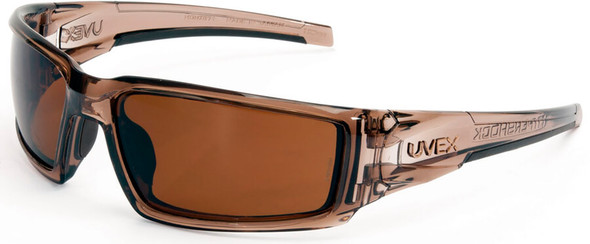 Uvex Hypershock Safety Glasses with Smoke Brown Frame and Espresso Polarized Lens