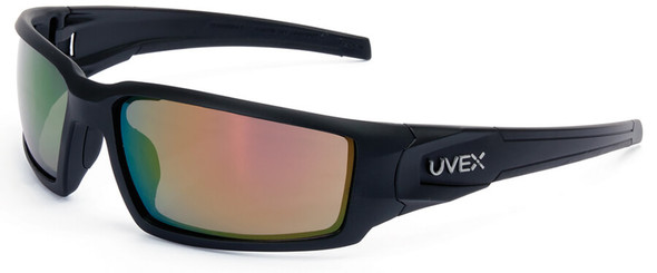 Uvex Hypershock Safety Glasses with Matte Black Frame and Red Mirror Lens