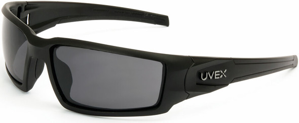 Uvex Hypershock Safety Glasses with Matte Black Frame and Gray Hydroshield Anti-Fog Lens S2941HS