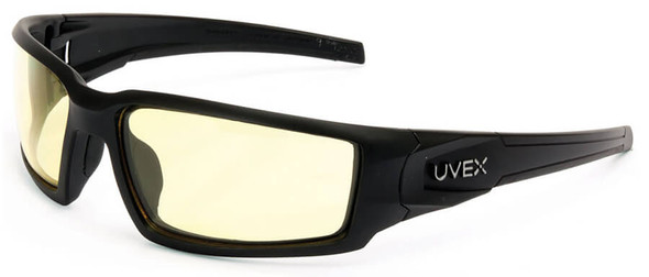 Uvex Hypershock Safety Glasses with Matte Black Frame and Amber Hydroshield Anti-Fog Lens