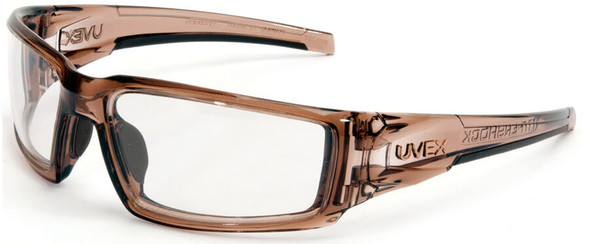 Uvex Hypershock Safety Glasses with Smoke Brown Frame and Clear Hydroshield Anti-Fog Lens