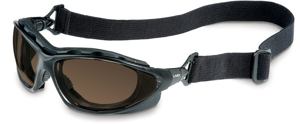 Uvex Seismic Safety Glasses/Goggles with Black Frame and Espresso Anti-Fog Lens with Strap