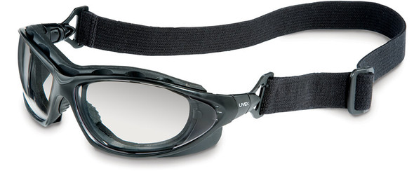 Uvex Seismic Safety Glasses/Goggles with Black Frame and SCT-Reflect 50 Anti-Fog Lens with Strap
