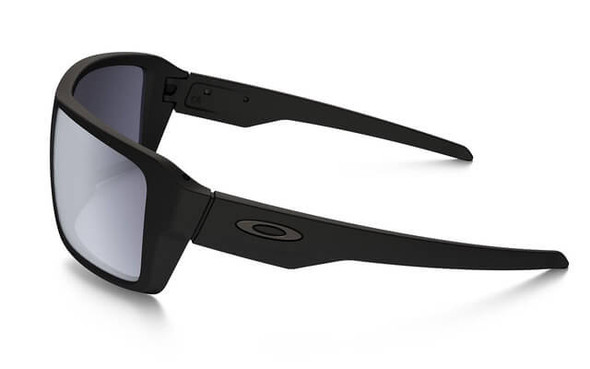 Oakley SI Double Edge Sunglasses with Matte Black Frame and Grey Polarized Lens - Side