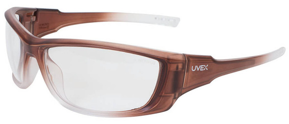 Uvex A1500 Safety Glasses with Matte Brown Frame and Clear Lens