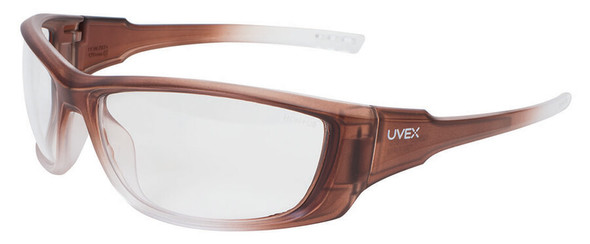 Uvex A1500 Safety Glasses with Matte Brown Frame and Clear Anti-Fog Lens
