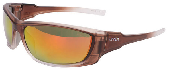 Uvex A1500 Safety Glasses with Matte Brown Frame and Red Mirror Lens