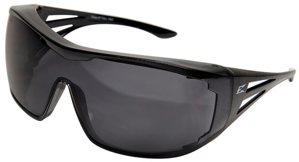 Edge Ossa OTG Safety Glasses with Black Temples and Smoke Lens