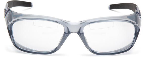 Pyramex Emerge Plus Bifocal Safety Glasses Gray Frame Clear Lens Top Insert Reader Front