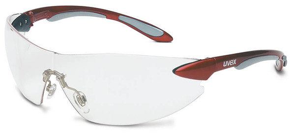 Uvex Ignite Safety Glasses with Metallic Red Frame and Clear Lens