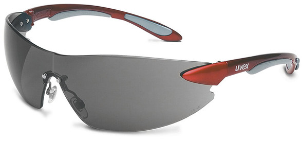 Uvex Ignite Safety Glasses with Metallic Red Frame and Gray Lens