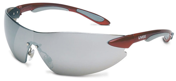 Uvex Ignite Safety Glasses with Metallic Red Frame and Silver Mirror Lens
