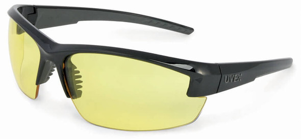 Uvex Mercury Safety Glasses with Black Frame and Amber Lens
