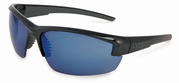 Uvex Mercury Safety Glasses with Black Frame and Blue Mirror Lens