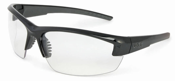 Uvex Mercury Safety Glasses with Black Frame and Clear Anti-Fog Lens