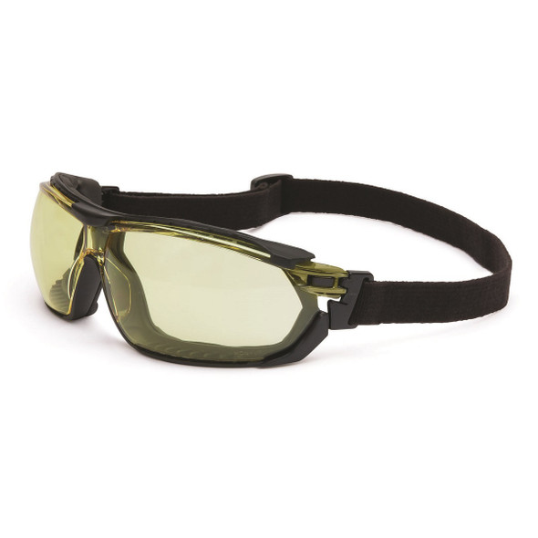 Uvex Tirade Safety Glasses Amber Anti-Fog Lens Goggle Strap Installed