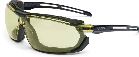 Uvex Tirade Safety Glasses/Goggle with Black Frame and Amber Anti-Fog Lens S4042