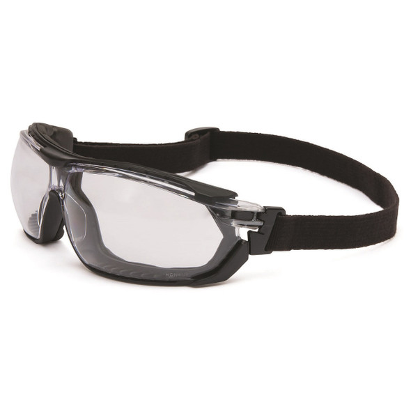 Uvex Tirade Safety Glasses Clear Anti-Fog Lens with Goggle Strap Installed