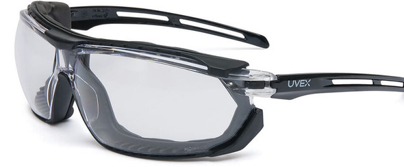 Uvex Tirade Safety Glasses/Goggle with Black Frame and Clear Anti-Fog Lens S4040