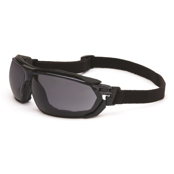 Uvex Tirade Safety Glasses Gray Anti-Fog Lens with Goggle Strap Installed