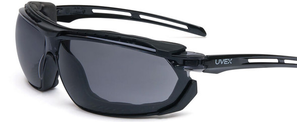 Uvex Tirade Safety Glasses/Goggle with Black Frame and Gray Anti-Fog Lens S4041