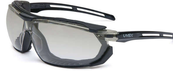 Uvex Tirade Safety Glasses/Goggle with Black Frame and Indoor/Outdoor Anti-Fog Lens S4044