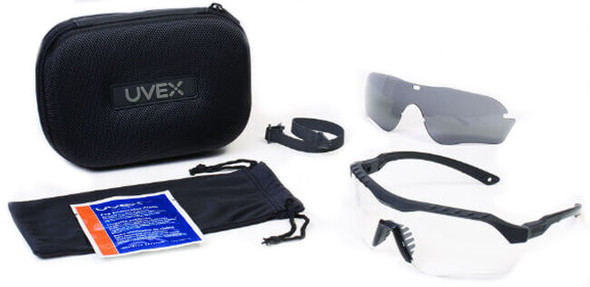 Uvex XMF Tactical Safety Glasses Kit with Black Frame and Clear, Gray DS Lenses