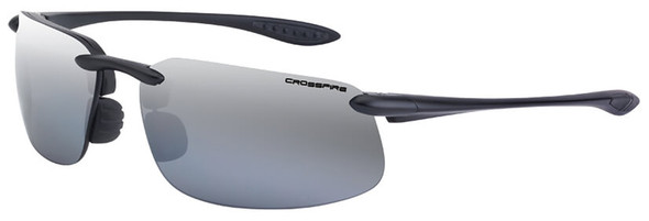 Crossfire ES4 Safety Glasses with Shiny Black Frame and Silver Mirror Lens