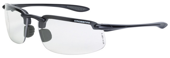 Crossfire ES4 Safety Glasses with Shiny Pearl Gray Frame and Clear Lens