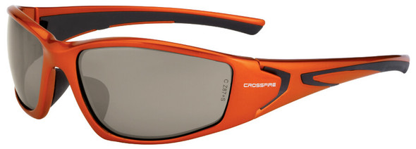 Crossfire RPG Safety Glasses with Burnt Orange Frame and HD Demi-Copper Mirror Lens
