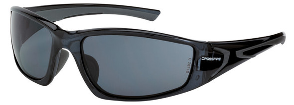 Crossfire RPG Safety Glasses with Crystal Black Frame and Smoke Lens