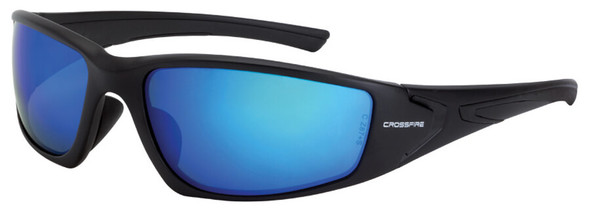 Crossfire RPG Safety Glasses with Matte Black Frame and Polarized Blue Mirror Lens