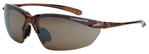 Crossfire Sniper Safety Glasses with Crystal Brown Frame and HD Brown Flash Mirror Lens