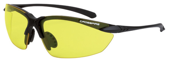 Crossfire Sniper Safety Glasses with Matte Black Frame and Yellow Lens