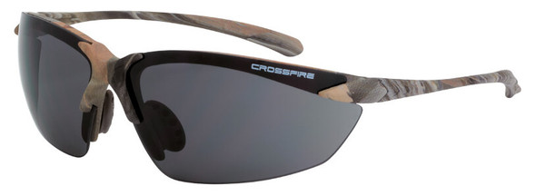 Crossfire Sniper Safety Glasses with Woodland Brown Camo and Smoke Lens