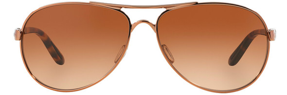 Oakley Feedback Sunglasses with Rose Gold Frame and VR50 Brown Gradient Lens - Front