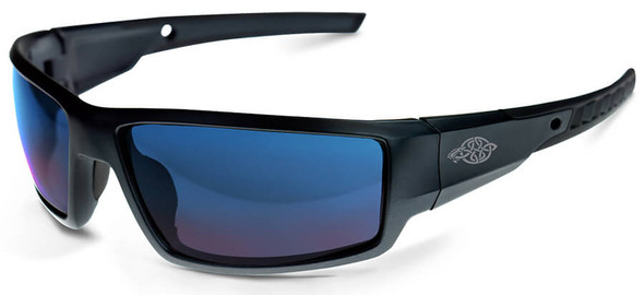 Crossfire Cumulus Safety Glasses with Matte Black Frame and Blue Mirror Lens 41626