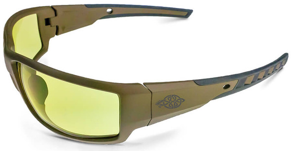 Crossfire Cumulus Safety Glasses with Tan SDE Frame and HD Yellow Lens