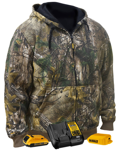 Dewalt RealTree Xtra Heated Jacket with Thermal Liner and Fleece Hoodie