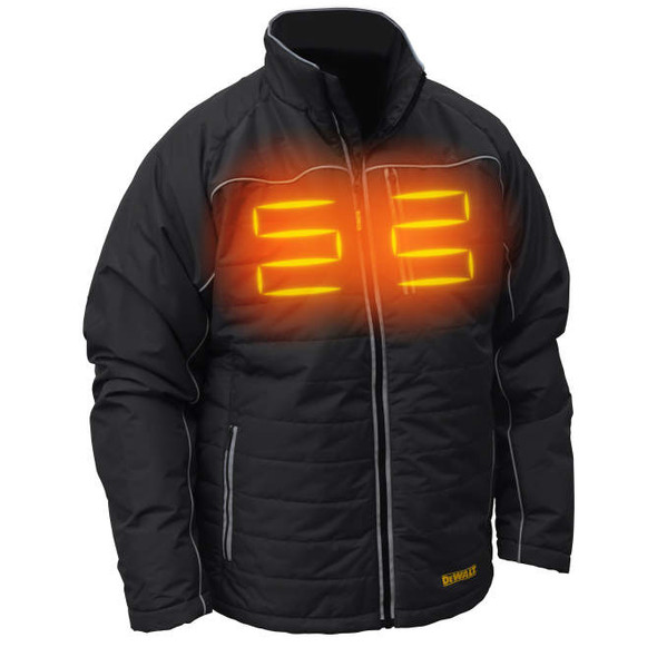 DEWALT DCHJ075D1 Unisex Heated Quilted Soft Shell Jacket With Battery & Charger Front Heat Zones