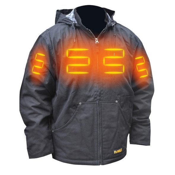 DeWalt DCHJ076ABD1 Unisex Heated Heavy Duty Work Coat With Battery & Charger Front Heat Zones