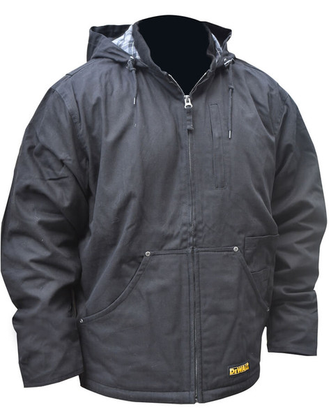 DeWalt Black Hooded Duck Cloth Heated Coat with Fleece Liner