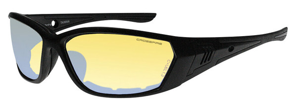 Crossfire 710 Foam Lined Safety Glasses with Matte Black Frame and Indoor-Outdoor Indigo Flash Anti-Fog Lens