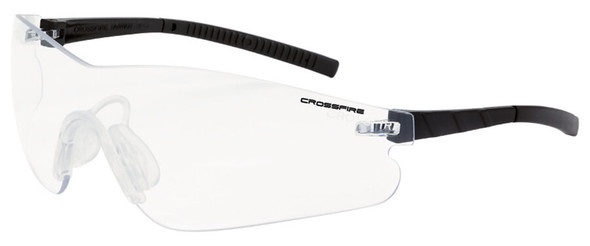 Crossfire Blade Safety Glasses with Black Temples and Clear Anti-Fog Lens